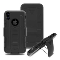 Wholesale Military Tough Case Cover - For Iphone X 5 5S 5C 6 6S 7 8 Plus Military Armor Tough Belt Clips Holster Kickstand Stand Cover Case Rugged 50pcs