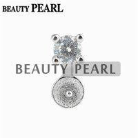 Wholesale Pendant Mounts Settings - 10 Pieces Small Charm Pearl Setting Zircon 925 Sterling Silver Semi Mounting Pearl Pendant Jewelry Findings