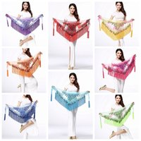 Wholesale belly dancing clothes - 180cm Belly Dance Costume Shine Tassel Fringe Hip Belt Waist Wrap Skirt Dancing Scarf Ethnic Clothes Kids Stage Wear AAA602