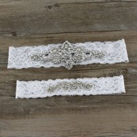 Wholesale Vintage Wedding Garter Sets - 38cm 44cm White Lace Vintage Bridal Garter Crystals Bridal Accessories Appliques Sexy Lace Garter 1 Set Wedding Garters