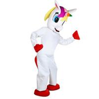 caráteres do dia das bruxas venda por atacado-Unicórnio Traje Da Mascote Adorável Branco Voando Cavalo Cospaly animal Dos Desenhos Animados Caráter adulto traje do partido do Dia Das Bruxas Carnaval Traje