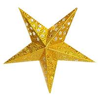 бумажные абажуры оптовых-Горячие продажи мода Рождество декор пентаграмма абажур Звезда бумага фонарь висит свадебные аксессуары золото