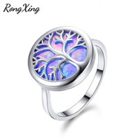 Wholesale silver blue opal ring - whole saleRongXing New Big Round Stone Blue Fire Opal Life Tree Rings For Women Men 925 Sterling Silver Filled Lovers Wedding Bands RS0225