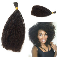 Wholesale bulk hair online - Mongolian Bulk Hair Afro Kinky Curly Bulk For Braiding Human Hair Extensions Inch In Stock FDSHINE