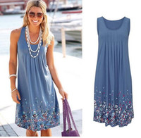 Wholesale dresses shift cotton - free shipping Summer Dress 2018 Women's Clothing Floral Print Cotton Sleeveless Short Beach Dress Sundress Casual Loose Shift Dresses Vestid