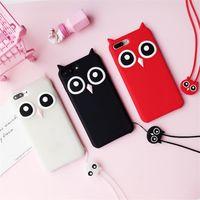 caso telefone coreia venda por atacado-Yunrt coréia dos desenhos animados 3d coruja phone case para iphone 7 6 s case de borracha de silicone macio telefone tampa traseira para o iphone x 8/7 plus 6 s plus 5s Capa