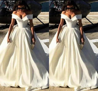 Wholesale lace up sexy wedding dresses online - New Fashion Simple Cheap Wedding Dresses Off The Shoulder Capped Sleeves Satin Sweep Train A Line Wedding Gowns Sexy Bridal Gowns