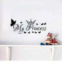 ingrosso adesivi murali della principessa-My Princess Wall Stickers Farfalle e corone Ragazze Camera da letto Stickers murali Decorazioni per la casa in vinile Murales