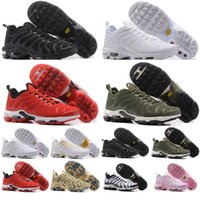 Wholesale wine air - 2018 Top Quality Mens Shoes Plus TN all white black red wine gold Sports Chaussures air Requin Running shoes 36-46