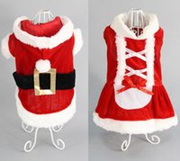 Wholesale day dresses suits resale online - 5 Size dog costume Christmas dog transformed dress santa suit classic Euramerican pet dog Christmas clothes pets apparel