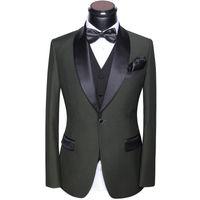 Wholesale men s gray dress vests - Mens Suits Wedding 2018 Latest Coat Pants And Vest Designs Slim Fit Round Collar Prom Party Suits Dress Gray White Blue Black