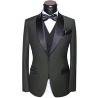 diseño de vestido azul negro al por mayor-Trajes para hombres de la boda 2018 últimos pantalones de la capa y diseños del chaleco Slim Fit cuello redondo trajes de fiesta vestido gris blanco azul negro