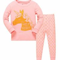 ingrosso indumenti da notte delle neonate-Neonate Pigiama Set Bambini Bambini Unicorno pigiameria Bambini Neonate Porno Pattern Set Cotone bambini abbigliamento da notte KKA6133