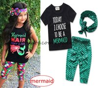 "Wholesale Short Scale - ins ""mermaid hair donot care""""today i choose to be a mermaid"" girls mermaid 3pc set tshirt & girls scale pp pants & bow headband"