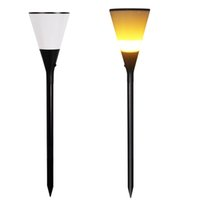 Wholesale solar powered led deck lights resale online - Fire flickering Beer cup Waterproof Solar Powered LED Wall Light for Outdoor Landscape Garden Yard Lawn Fence Deck Roof Lighting Decoration