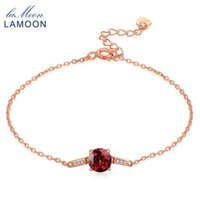 Wholesale natural red garnet beads resale online - Lamoon S925 Sterling silver jewelry Bangle For Women Natural Gemstone Red mm Garnet Luxury Bracelet Accessories LMHI008