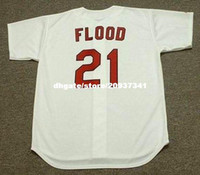 Wholesale flood homes - Cheap Custom CURT FLOOD St. Louis Stitched 1967 Majestic Cooperstown Home Baseball Jersey Retro Mens Jerseys