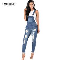 jeans para mulher venda por atacado-Elástico Tecido Mulheres Suspender Jean Ajustável Plus Size Macacão Jeans Buraco Rasgado Vaqueiro Calças Patchwork Calças ZB-D146