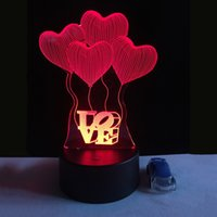 regalo de vacaciones de san valentín al por mayor-3D Visual Bulb Ilusión óptica Colorful LED Lamp Touch Romantic Holiday Night Light Love Heart Boda regalo del día de San Valentín