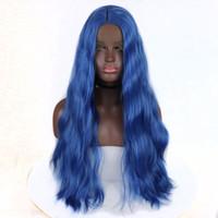 lange wellige haarperücken großhandel-Blaue Synthetische Lace Front Perücken Lange Blaue Wellenförmige Spitze Perücke Natürliche Welle Synthetische Cosplay Perücken Glueless Hitzebeständige Faser Haar Für Frauen