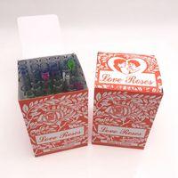 óleo para mãos venda por atacado-Tubo De Vidro Tubo De Água Tubos De Vidro Tubo De Mão Com Flores De Plástico para Bongo De Tabaco