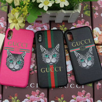 Wholesale dog cases covers - Case for iPhoneX 8 7 6plus Luxury Painted Printed Dog & Cat Mobile Shell for iPhone7plus 8plus hard back cover