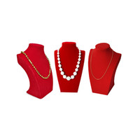 Wholesale jewelry wholesale mannequin displays - 3Pcs Red Velvet Jewelry Display Bust Wholesale Wooden Necklace Pendant Organizer Storage Velvet Pear Bead Chain Mannequin Stand 22 cm