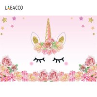 Wholesale Cartoon Backdrops - Laeacco Cartoon Unicorn Flower Birthday Baby Newborn Photography Backgrounds Customized Photographic Backdrops For Photo Studio