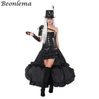 Beonlema Overbust Bustier Leather Steampunk Corset Black Arm Shaper Punk Rave Belt Rivet Korse Dress Cosplay Clothing Long Skirt