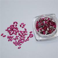 Wholesale Nail Art Roses - New 500pcs set Rose Red Horse Eye Beads Nail Art Tips Rhinestones Glitters Acrylic Gems Decoration with Hard Case YZJ043