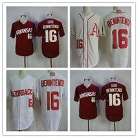 camisa da marinha dos homens venda por atacado-Masculino Arkansas College Baseball 16 Andrew Benintendi Jersey Creme Vermelho Branco Cinza Ncaa Beisebol Costurado Boston Azul Marinho Camisas S-3XL