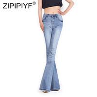 jambe boutons jeans achat en gros de-Femmes H Taille Vintage Bell Sexy Bleu Foncé Casual Wide Leg Jeans Élégant Poche Bouton Flare Pants