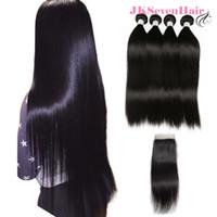 bakire indian saç düz 4pcs toptan satış-12A Sınıf Brezilyalı Düz Virgin İnsan Saç Uzantıları Ile 4 ADET 4X4 Inç Dantel Kapatma Ile Malezya Perulu Hint Saç Örgüleri Kapatma