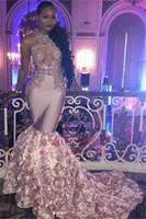 sereia floral saia venda por atacado-2018 Africano Nigeriano Meninas Negras Halter Sereia Longos Vestidos de Baile 3D Floral Saia Lace Applique Frisado Formal Vestidos de Noite Do Partido Personalizado