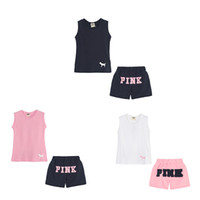 Wholesale babies clothes online - PINK Summer Baby Girls Clothing Sets Sleeveless Tops and Shorts VS Fashion Kids Suits Sports Outdoor Suit Baby Girl Clothes