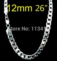 Wholesale Silver Chains For Men 12mm - whole salewholesale Silver plated fashion 12mm 26inch men's curb chain Necklace for men jewelry,hot sell fashion men jewelry