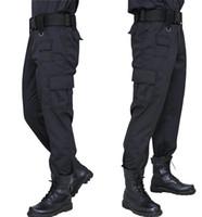 calças de trabalho pretas venda por atacado-Calças de carga Calças Pretas Estilo Casual Pantalones Calças Finas Táticas Calças de Trabalho de Segurança Exército Macacão Do Exército