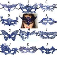 blaue maskerade masken für frauen großhandel-Heiße Frauen Blaue Spitze Augenmaske Maskerade Party Ball Prom Halloween Kostüm Dekoration