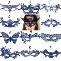ingrosso maschere di mascheratura blu per le donne-Hot Women Blue Lace Eye Maschera Masquerade Party Ball Prom Halloween Costume Decoration