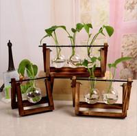 lebende vasen großhandel-Neue blumen vase anlage transparent glas vase mit holzrahmen für tabletop anlage wohnkultur wohnzimmer dekoration 9 stile