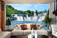 Wholesale Fiberglass Design - Large 3D Wall Stickers Cliff Water Falls Shower Bathtub Art Wall Mural Floor Decals Creative Design for Home Deco
