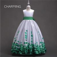 padrões de vestido de noiva ruffles venda por atacado-Padrões de vestido da menina de flor impressão vestido de noiva de cetim ruffle vestidos de festa vestido de noiva do vintage vestidos de grife longos vestidos formais