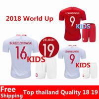 Wholesale Teen Xxl - Soccer Jerseys 2018 World Cup Poland teen jersey LEWANDOWSKI 18 19 home red GROSICKI PISZCZEK ZIELINSKI Away white Polska kids kits