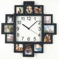 novos quadros de fotos de design venda por atacado-Novo diy relógio de parede design moderno diy photo frame relógio de arte de plástico pictures clock original klok home decor horloge