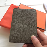 Wholesale business travel organizer for sale - Group buy Men genuine leather passport cover wallet women luxury credit card holder men business card holder travel passport holder With Dust Bag Box