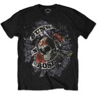 импортные розы оптовых-Официальный Guns N Roses-огневая мощь-мужская черная футболка импорт США