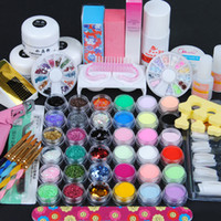 Wholesale French Manicure Nail Kit - Acrylic Powder Nail Manicure Kit Acrylic Liquid Glitter Powder Stripe File French Tip Sticker Manicure Pedicure Nail Tools Kit