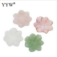 taş çiçek toptan satış-YYW DIY Takı Doğal Gerçek Yeşil Aventurin Gül Taş Boncuk El Yapımı Oyma Çiçek Şeklinde Kiraz Kuvars Porselen Taş Boncuk