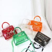 monedero de pvc transparente al por mayor-TekiEssica Satchel Bolso para mujer Bolso transparente Jelly Transparent Bolsa de PVC Candy Color Bolso de mano Bolso de diseñador Crossbody