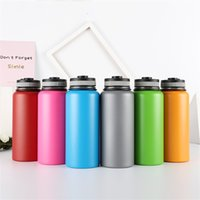 Wholesale sports aluminum water bottles resale online - Outdoors Sports Vacuum Cup Stainless Steel Portable Water Bottle Gift Insulated Travel Kettle Heat Resisting Business Gift lt jj